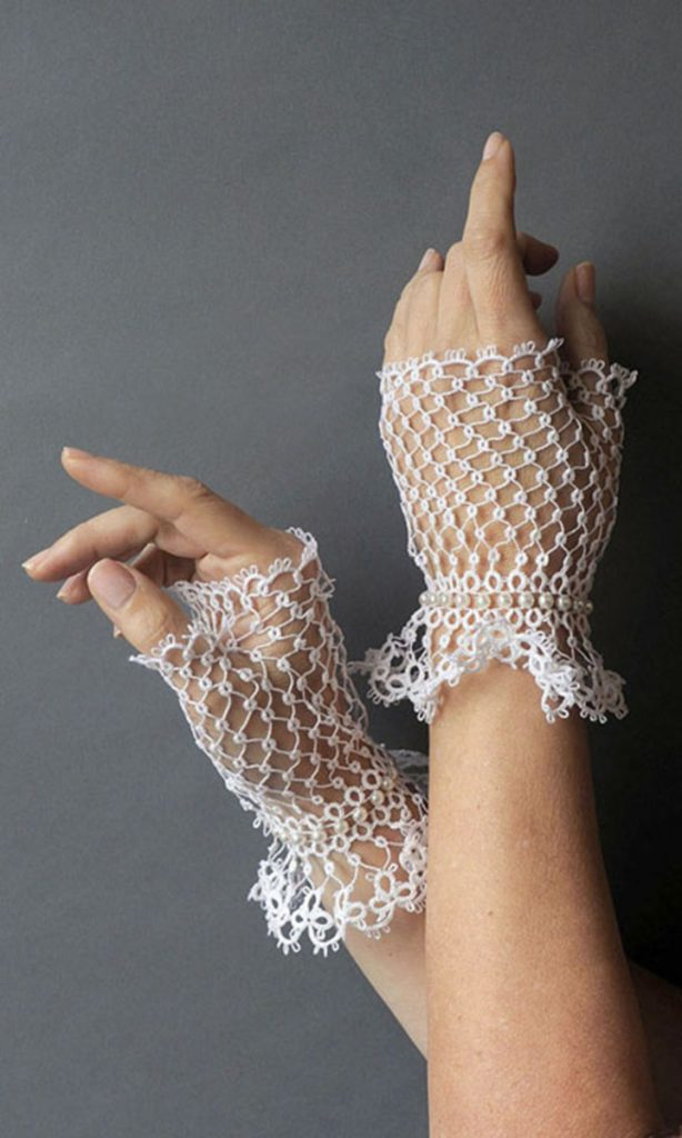 The pattern for fingerless gloves, or 'mitts,' was developed by award-winning tatter Elaine O'Donal who will be part of the Nickels-Sortwell Craft Show on July 26 in Wiscasset.