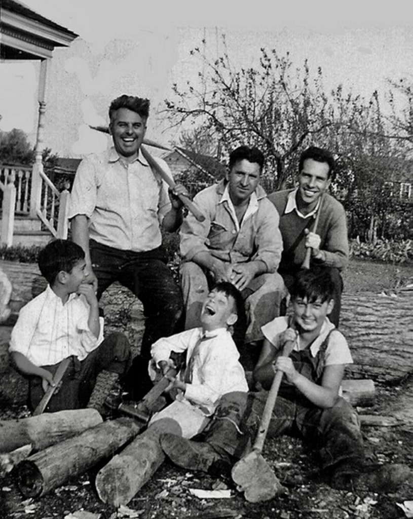 A photo taken after the Hurricane of 1938 with the Soares boys in front and Liz Soares' grandfather, top left.