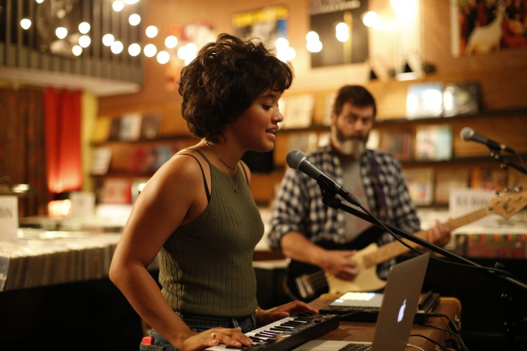 "Kiersey Clemons, left, and Nick Offerman in ""Hearts Beat Loud."""