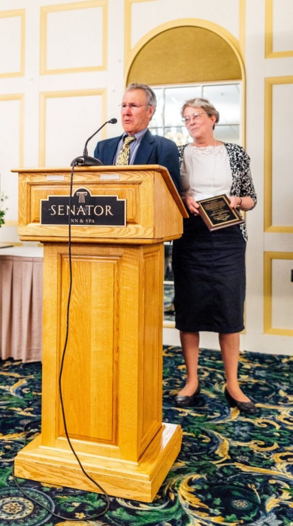 Transformational Clinical Collaboration Award Winner, from left, are Dr. Gust Stringos, of Somerset Primary Care, and Dr. Ann Dorney, of Skowhegan Family Medicine.