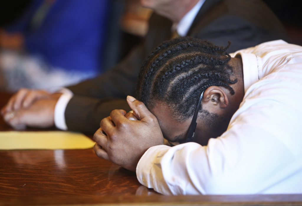 David W. Marble Jr. reacts Thursday as jurors read their guilty verdicts at the Cumberland County Courthouse in Portland. Marble was convicted of two murder charges stemming from the Dec. 25, 2015, shooting deaths of Eric Williams and Bonnie Royer, of Augusta.