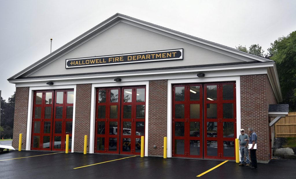 The exterior of the new Hallowell Fire Station, shown on Tuesday, features custom-built doors that open horizontally to provide access to the engine bays.