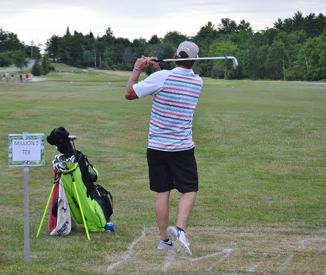 Eddie McCarty during the million-dollar shot contest at the Whitefield Lions Club's 12th annual golf tournament held July 14 at Sheepscot Links in Whitefield.