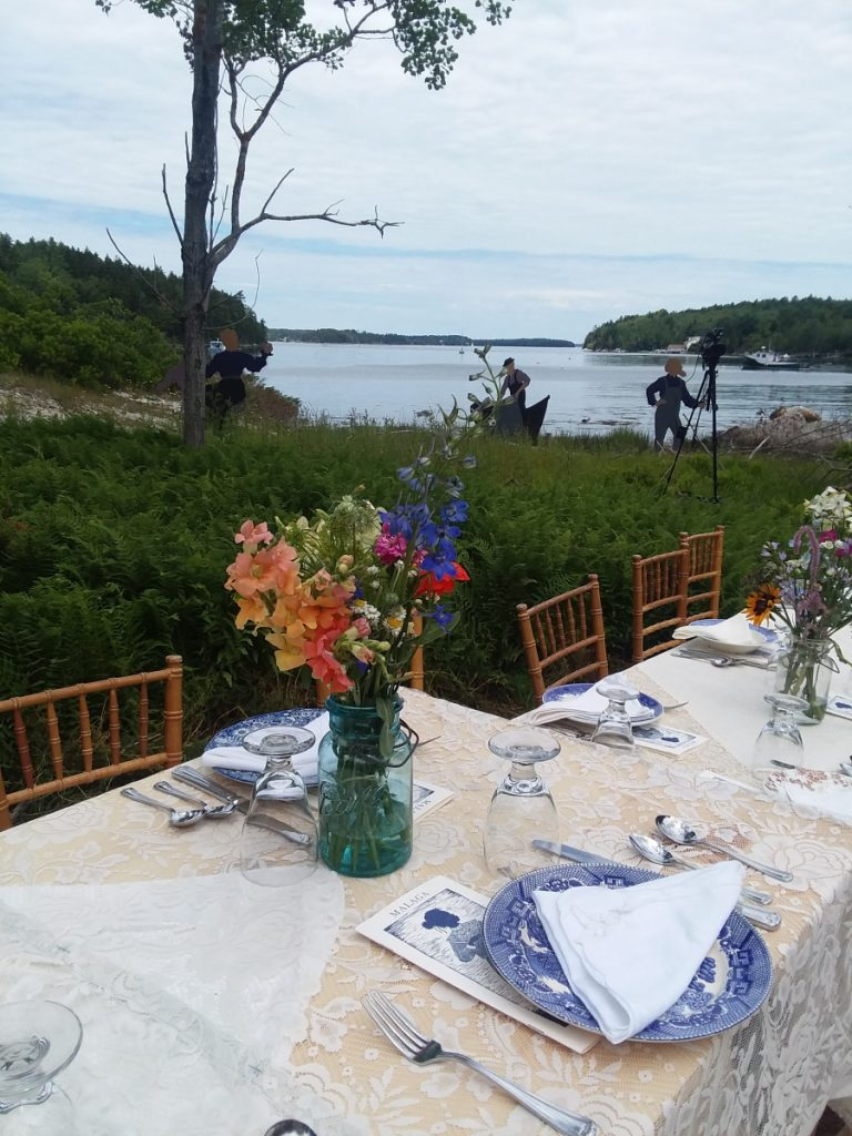 A table is set for the meal honoring the residents of Malaga Island.