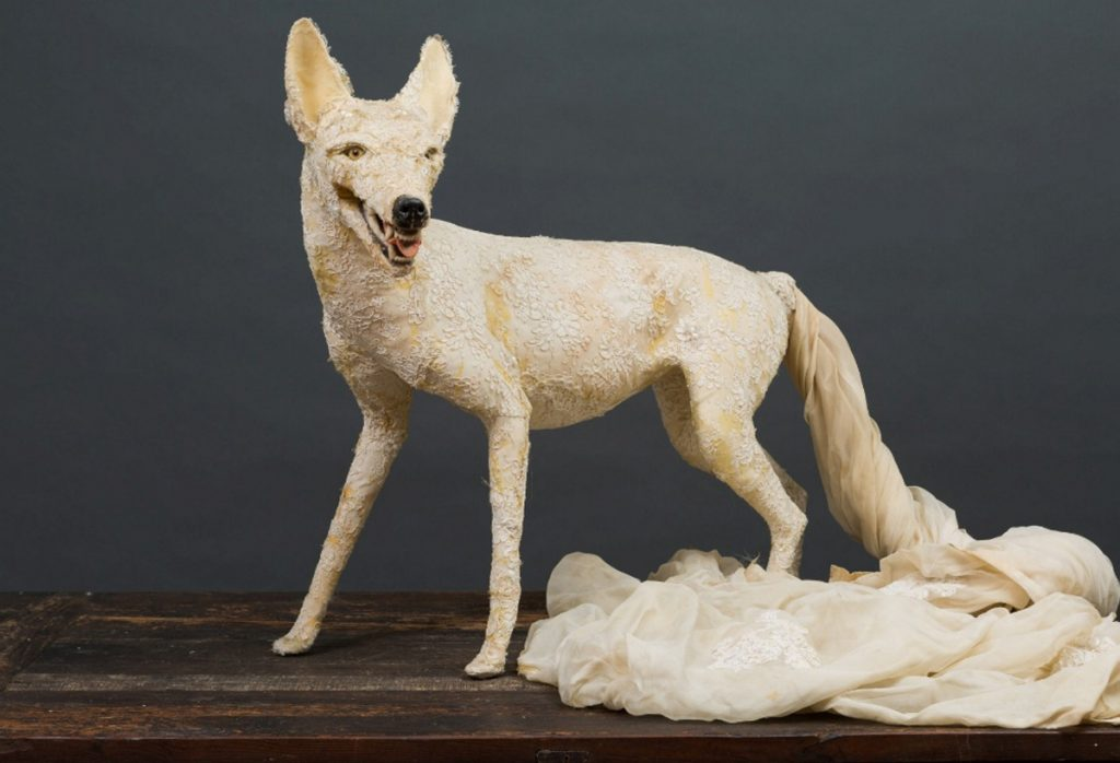 "Jana Keith-Jennings, ""Coyote,"" (wedding dress, glue, styrofoam, plastic, glass)"