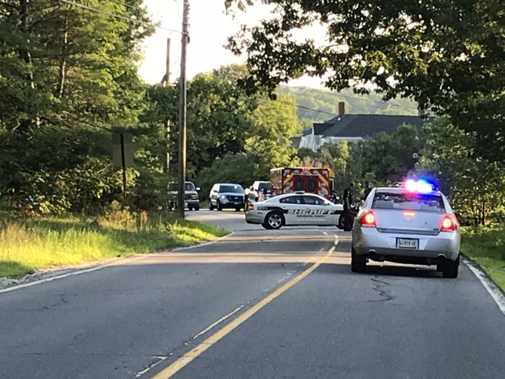 Maine Star Police, Sagadahoc County Sheriff, Richmond Police and Gardiner Ambulance converge at the scene of a crash Tuesday on River Road in Richmond.