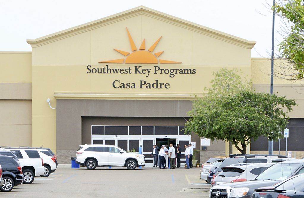 Dignitaries take a tour on June 18 of Southwest Key Programs Casa Padre, a U.S. immigration facility in Brownsville, Texas, where children who have been separated from their families are detained.