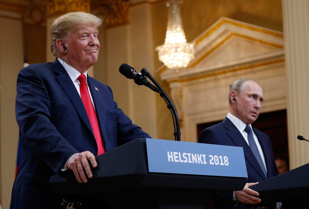 "President Trump, shown at the news conference in Helsinki with Russian President Vladimir Putin on Monday, said Tuesday that he meant the opposite of what he said at the event, and that he should have said he doesn't see why Russia ""wouldn't"" be responsible for meddling in the 2016 election."