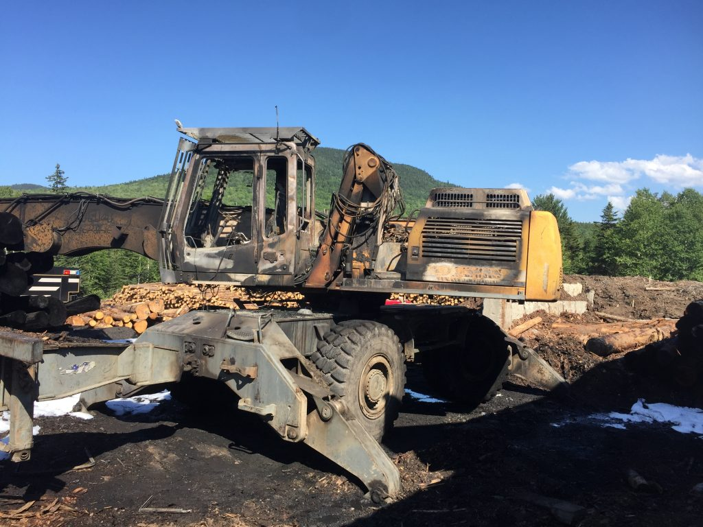 A log loader at Stratton Lumber in Eustis was destroyed in a fire Thursday afternoon, Eustis Fire Chief Sprague Wise said. Crews from Eustis and Rangeley prevented the flames from spreading to the surrounding buildings, equipment and logs.