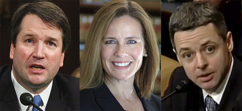 Supreme court finalists are reportedly, left to right,  federal appeals judges Brett Kavanaugh , Amy Coney Barrett and Raymond Kethledge