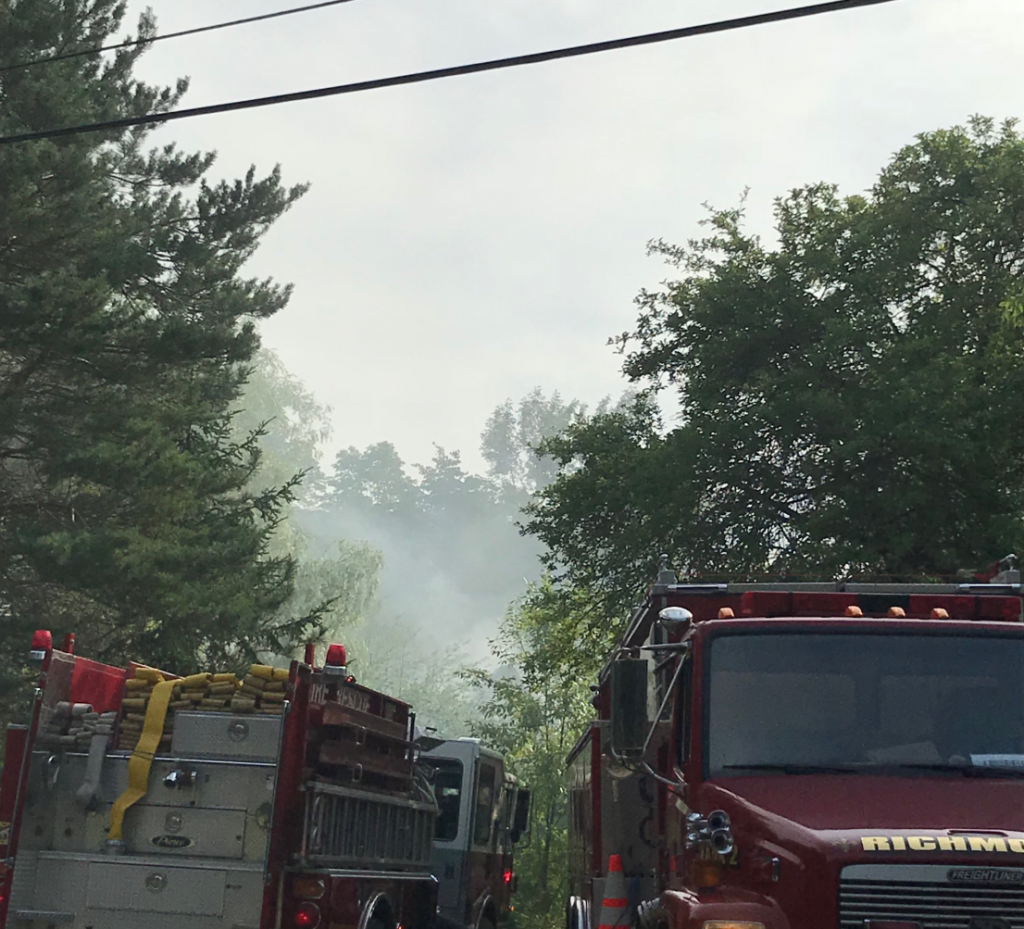 Fire fighters from communities in three counties were called in to knock down a fire that was reported around 3:30 p.m. at a home on Calls Hill Road.