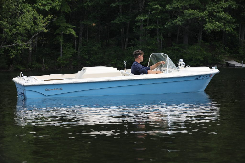 The late, award-winning director Jonathan Demme's ski boat, Spindrift, sold Sunday at the Lovell Historical Society's annual auction for $6,500, an auction record. It is a 1967 Correct Craft Mustang.