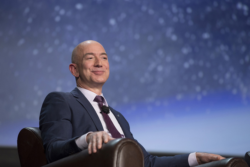 Jeff Bezos, chief executive officer of Amazon.com and founder of Blue Origin, appears at a 2016 conference in  Colorado Springs, Colo.