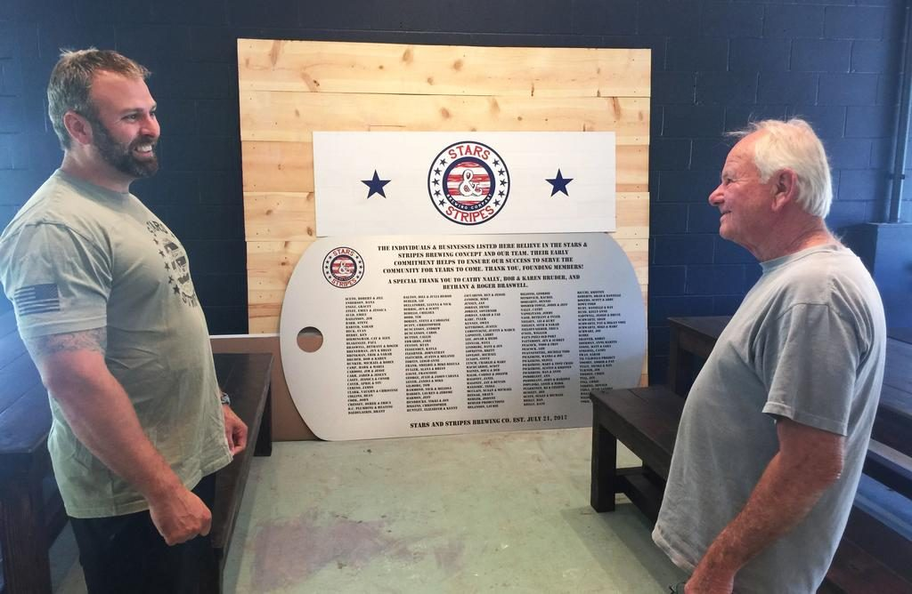 Brad Nadeau has been aided in his efforts by friends such as Larry LaPointe of Gray, a Vietnam Army veteran. A plaque honoring those who have contributed to the project sits in the background, and will hang over the brewery's seating area.