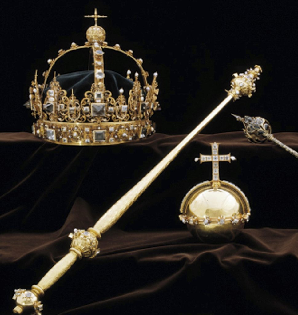 This image made available on Wednesday Aug. 1, 2018 by the Swedish Police, shows a collection of Swedish Crown jewels. Thieves in Sweden walked into a small town's medieval cathedral in broad daylight and stole priceless crown jewels dating back to the early 1600s before escaping by speedboat, police said Wednesday. (Swedish Police via AP)