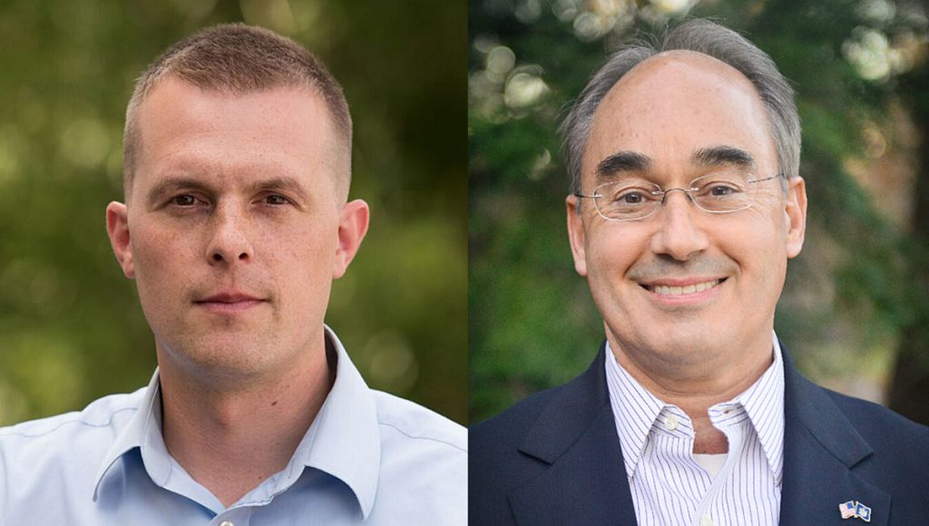 A new poll shows that state Rep. Jared Golden, left, could win the 2nd District Republican race against U.S. Rep. Bruce Poliquin once ranked-choice voting preferences are factored in.
