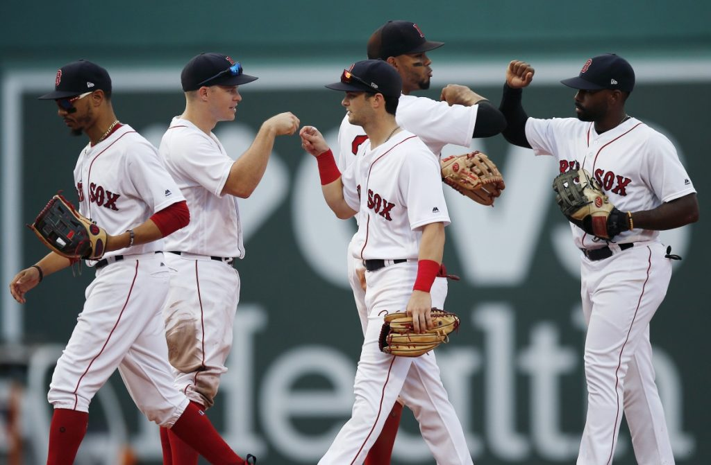 Another day, another postgame celebration for the Red Sox, who are 22-6 since July 1 and are on pace to finish with 113 wins.