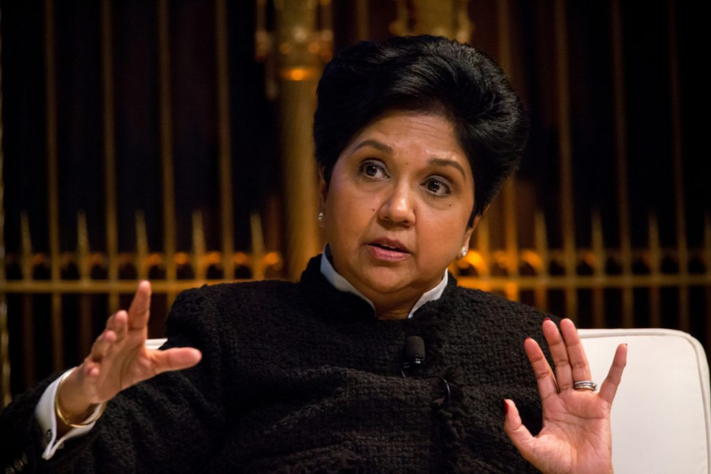 Bloomberg photo by Michael Nagle. PepsiCo CEO Indra Nooyi speaks during the Saudi-U.S. CEO Forum in New York in March.