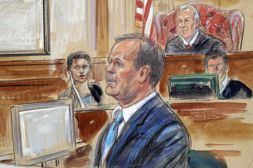 This courtroom sketch depicts Rick Gates, right, testifying during questioning in the bank fraud and tax evasion trial of Paul Manafort at federal court in Alexandria, Va., on Tuesday. U.S. district Judge T.S. Ellis III presides at top right.