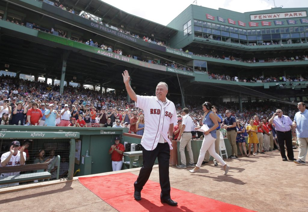 Boston Red Sox TV analyst Jerry Remy was honored for his 30 years in the broadcast booth before a game at Fenway Park in August 2017. (AP Photo/Steven Senne)
