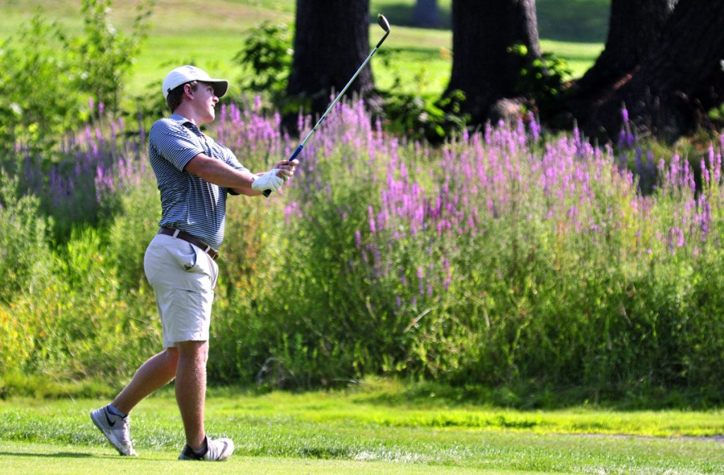 Jack Wyman of South Freeport was at 6 under before back-to-back bogeys on the final two holes Tuesday at the Maine Open at the Augusta Country Club. He is two shots behind leaders Chelso Barrett and Peter French.