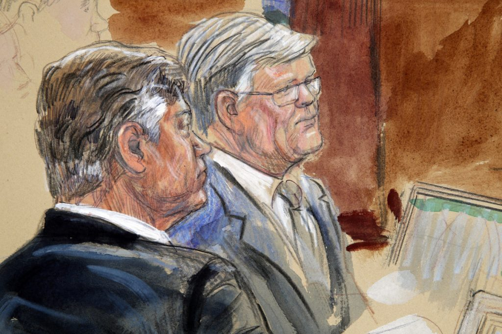 This courtroom sketch depicts former Donald Trump campaign chairman Paul Manafort, left, listening with his lawyer Kevin Downing to testimony from government witness Rick Gates as Manafort's trial continues at federal court in Alexandria, Va., on Tuesday.
