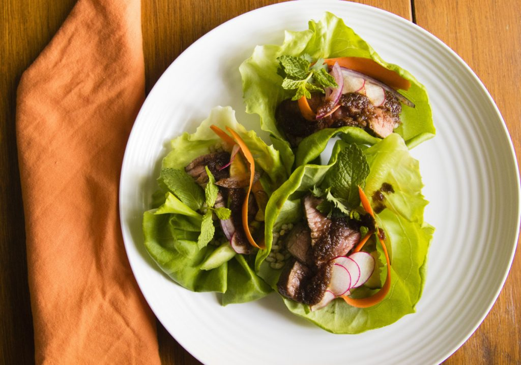 Indonesian Beef and Lettuce Cups.