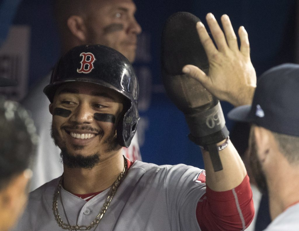 Mookie Betts was 4 for 4 and hit for the first cycle, the first Boston player to do so since Brock Holt three years ago.