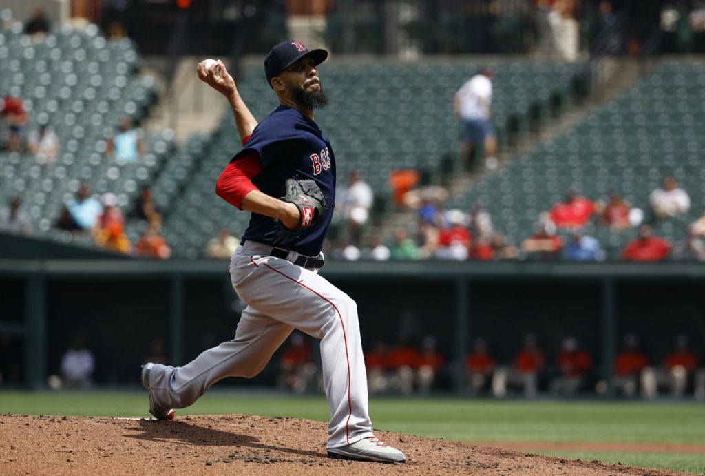 Red Sox starting pitcher David Price pitched six scoreless innings, allowing five hits, while striking out 10 and walking none in Boston's 5-0 win over the Orioles in the first game of a doubleheader on Saturday in Baltimore.