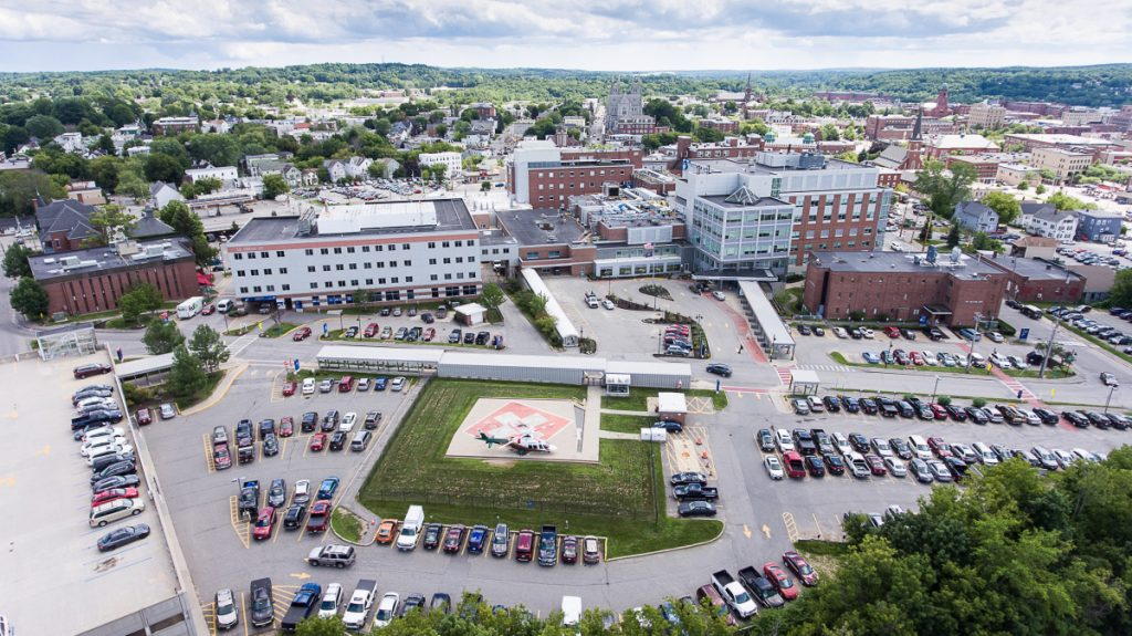 An aerial view of Central Maine Medical Center in Lewiston taken Aug. 9, 2018. (Russ Dillingham/Sun Journal)