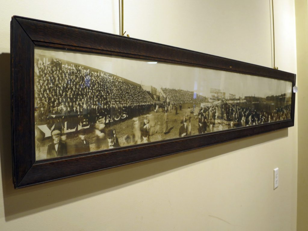 A 6-foot-long panoramic photograph that once belonged to Boston Red Sox third baseman Harry Lord. It shows the scene at a Patriot's Day baseball game between the Red Sox and Washington Nationals at the Huntington Avenue Grounds in Boston in 1910. The photo will be sold at an upcoming auction auction in Biddeford.