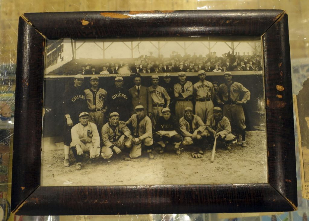 A photograph that belonged to baseball great Harry Lord. The 1910 photograph shows a group of American League all-stars, including Ty Cobb, front row, far left, prior to a game at Shibe Park in Philadelphia. It will be sold at an upcoming auction in Biddeford.