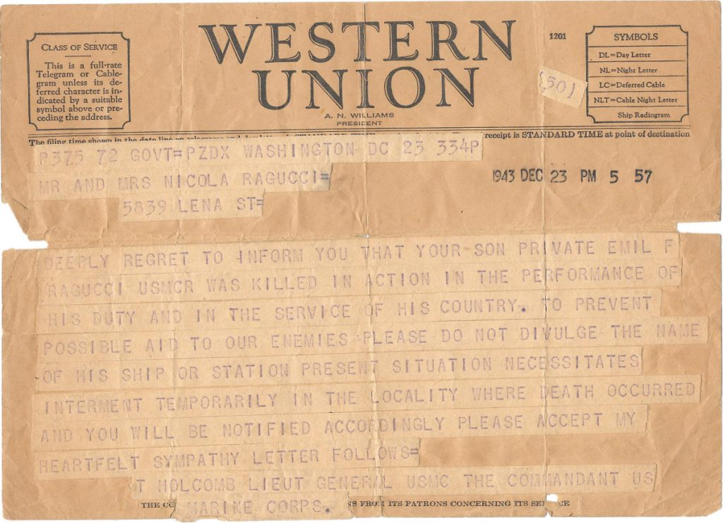 This image shows a Western Union Telegram dated Dec. 23, 1943, announcing that United States Marine Corps Private Emil Ragucci was killed in action during World War II. Decades after his death in the South Pacific Battle of Tarawa, Ragucci's remains are scheduled to return home to Philadelphia on Monday, Aug. 13, 2018. (Courtesy of the Ragucci family via AP)