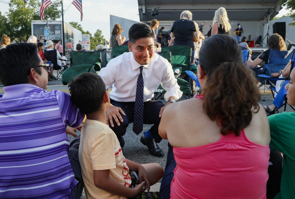 Hamilton County Clerk of Courts Aftab Pureval speaks with constituents as he campaigns for his 1st House District challenge against veteran Republican Rep. Steve Chabot.