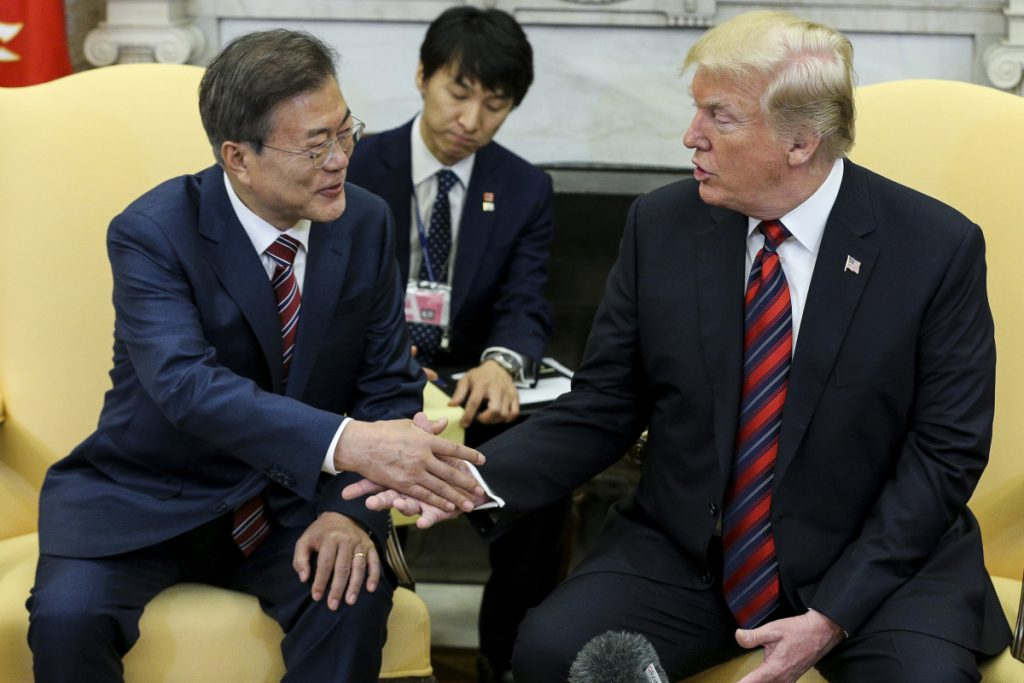 President Trump meets with South Korean President Moon Jae-in in May at the White House. U.S. trading partners are watching whether the U.S. imposes auto import tariffs that could harm its South Korea trade deal.