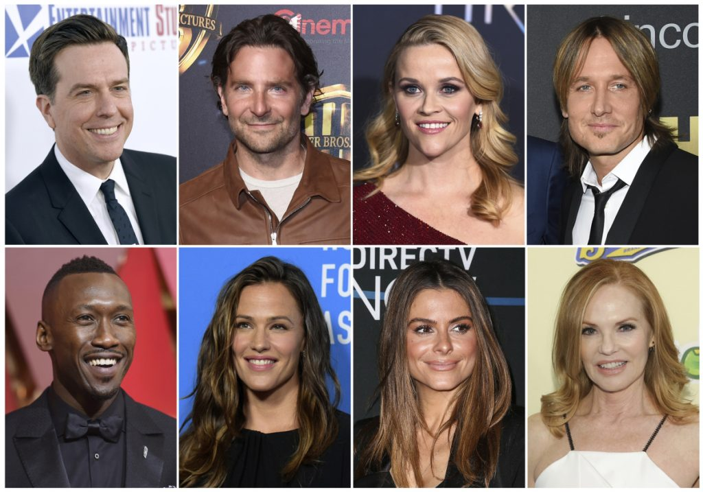Top row from left, Ed Helms, Bradley Cooper, Reese Witherspoon and Keith Urban; and bottom row, from left, Mahershala Ali, Jennifer Garner, Maria Menounos and Marg Helgenberger will join the sixth Stand Up To Cancer telethon.