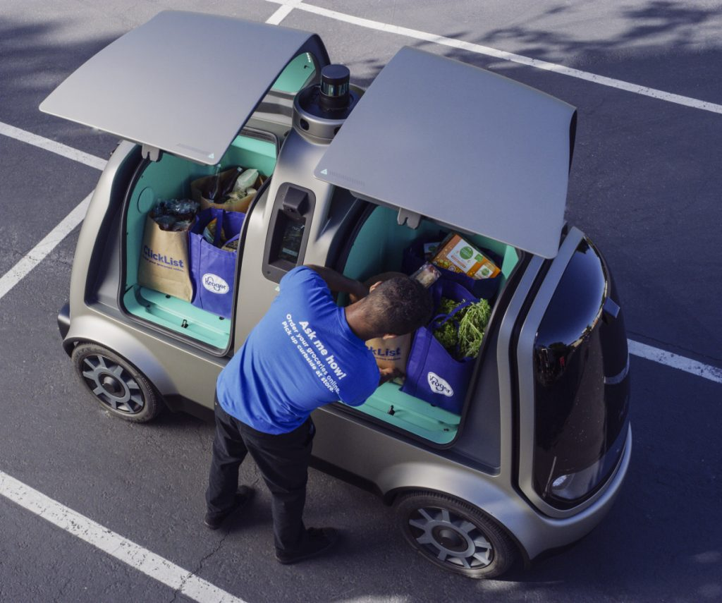 During phase two of Kroger's test, in the fall, deliveries will be made by the R1, shown above, with no human aboard.