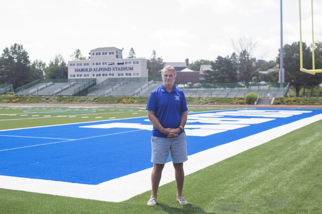 After 29 years coaching at Orono's Alfond Stadium for the University of Maine – six as an assistant, 23 as head coach – Jack Cosgrove has moved on to a different Harold Alfond Stadium, as he enters his first season as head coach of Colby's football program. (Staff photo by Brianna Soukup/Staff Photographer)