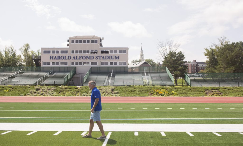 After 29 years coaching at Orono's Alfond Stadium for the University of Maine – six as an assistant, 23 as head coach – Jack Cosgrove has moved on to a different Harold Alfond Stadium, as he enters his first season as head coach of Colby's football program.