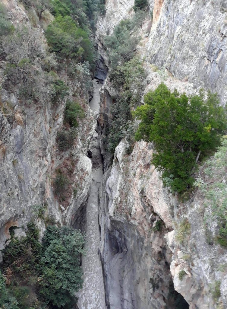 A view of the Raganello Gorge in Civita, Italy, on Monday. Italy's civil protection agency said at least eight people were killed when a rain-swollen river flooded the gorge in the southern region of Calabria.
