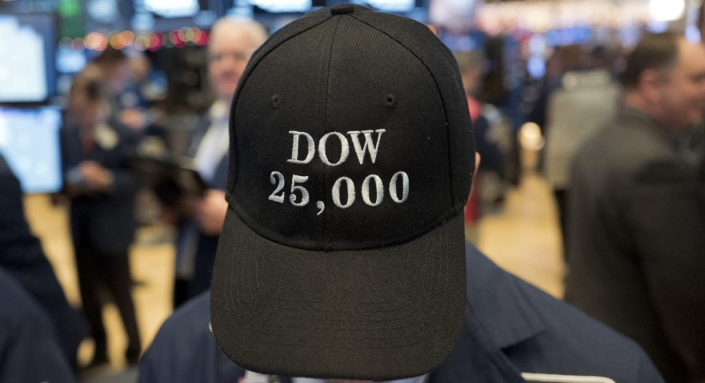 A trader works at the New York Stock Exchange in January.