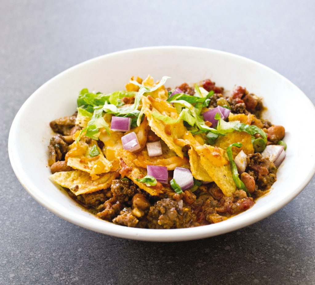 Spicy Beef Taco Bake serves six people.