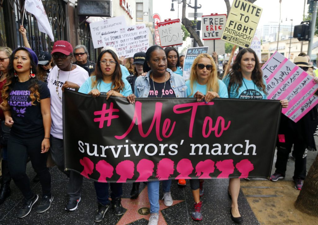 Women take part in a #MeToo March in Los Angeles last year. The movement against sexual harassment continues to roil much of the nation, but many state lawmakers have done nothing to police their own branches of government.