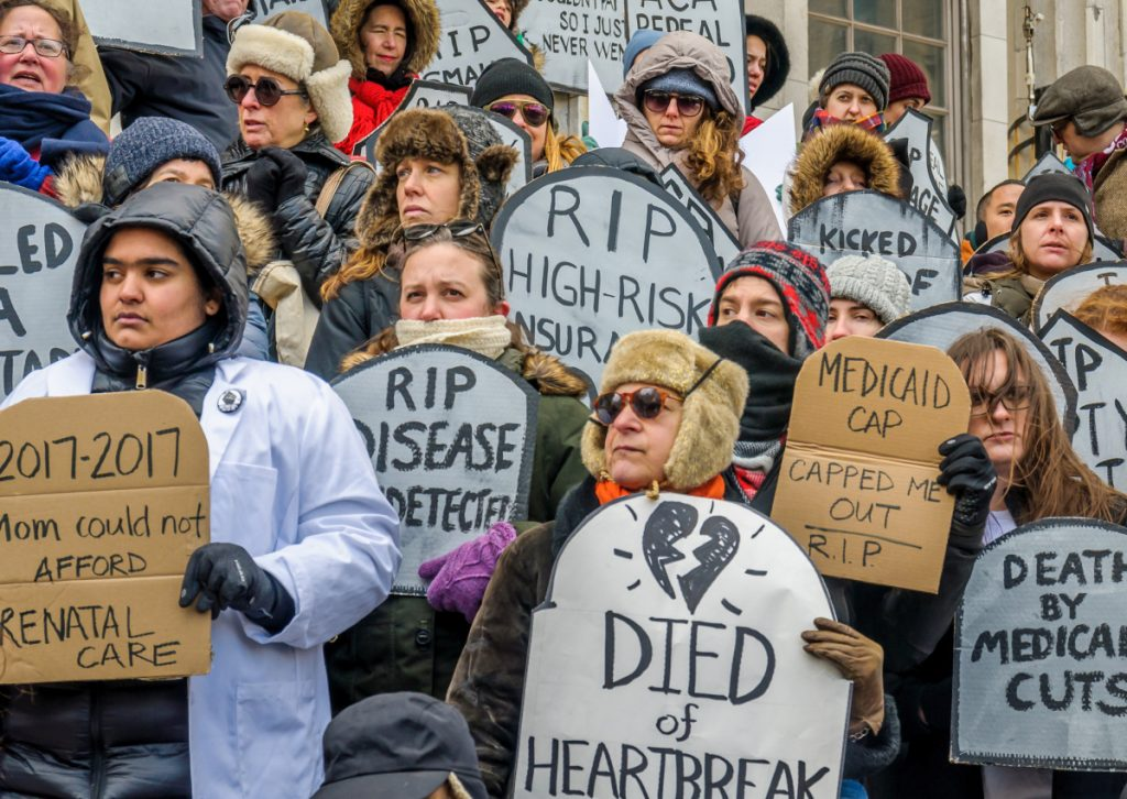 New Yorkers rally against a Republican health care bill in March 2017. Republicans seeking office in November are struggling to put together a cohesive message on health care.