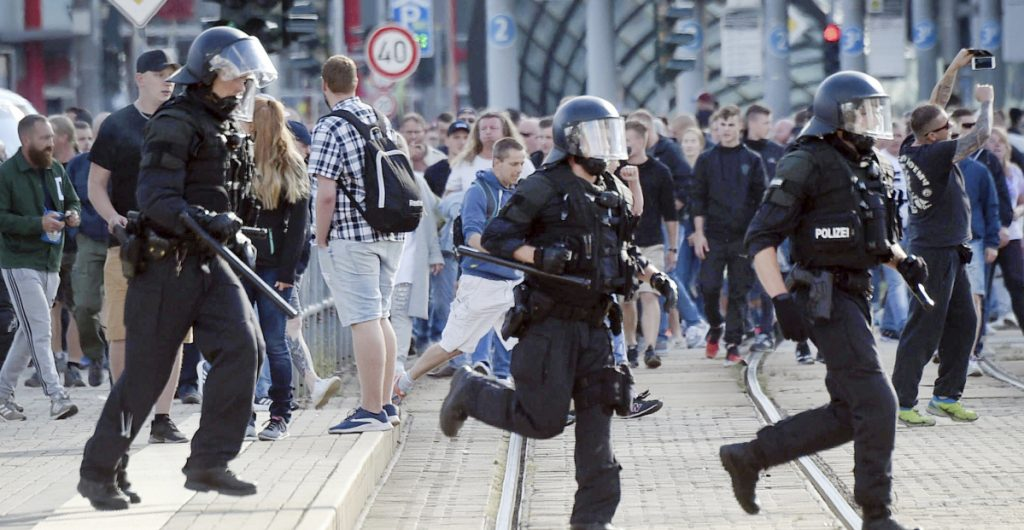 Authorities in Chemnitz, Germany thought they were braced for rival protests Monday but in the end, about 600 officers struggled to hold back 6,000 far-right supporters.
