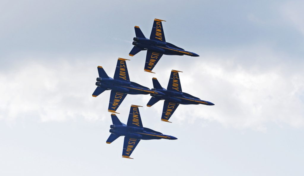 The Navy's Blue Angels fly at The Great State of Maine Air Show at Brunswick Executive Airport in 2017. The local group that puts on the show is hoping to book the team for 2020.