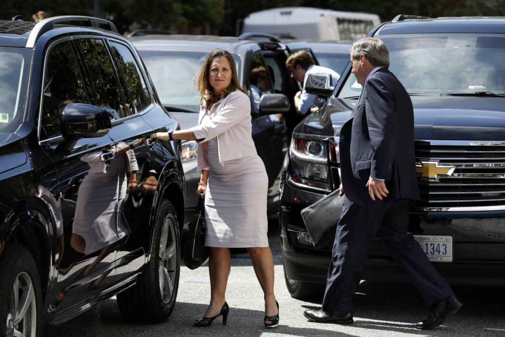 "Canada's Foreign Affairs Minister Chrystia Freeland, in Washington on Friday for trade talks, said, ""We know a win-win-win agreement is within reach,"" despite being derailed by President Trump's comments."