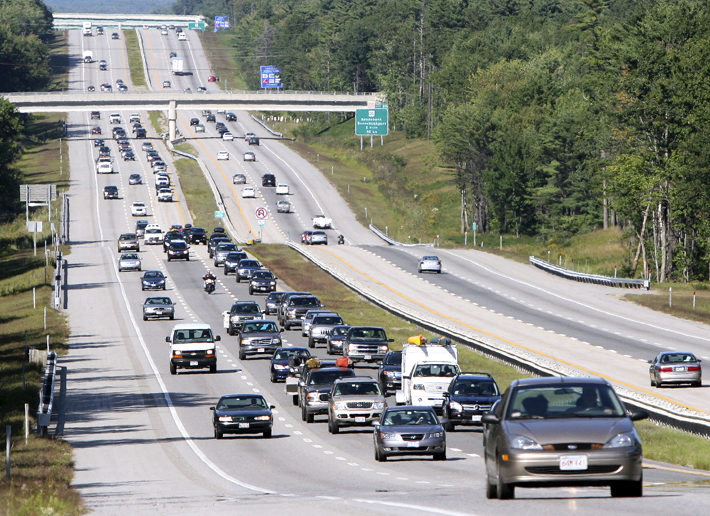 Motorists jam the southbound lanes of the Maine Turnpike near Wells in 2008, the year when the Great Recession began to affect traffic volume.