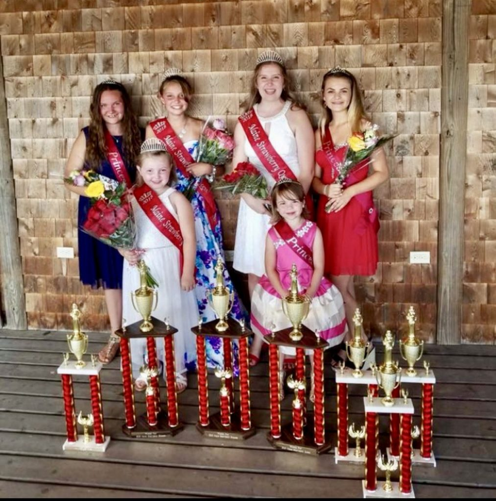 The 2018 Maine Strawberry Pageant Royalty, in front, from left are Lexi Benner, of West Gardiner, 2018 Maine Strawberry Blossom; and Charlotte Garloff, of Pittston, Strawberry Blossom RunnerUp. In back, from left are Deanndra Kalloch, of Whitefield, Strawberry Princess Runnerup; Lily Belanger, of Pittston, 2018 Maine Strawberry Princess; Jordan Snell, of West Gardiner, 2018 Maine Strawberry Queen; and Tori Grasse, of Windsor, Strawberry Queen Runnerup and Miss Congeniality.
