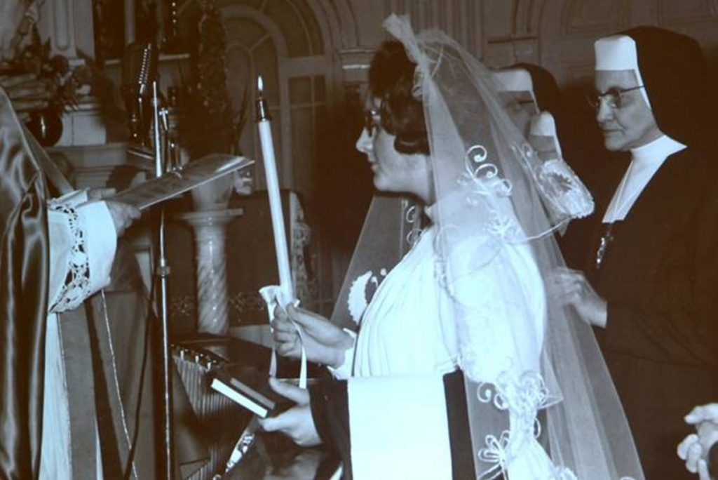 Sister Carol Martin makes her vows to the Little Franciscans of Mary in Baie-Saint-Paul, Quebec, on Aug. 21, 1968.